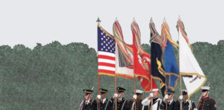 Veterans Day Parade illustration by Paul Dillon from the book N Is for Never Forget, published by Elva Resa